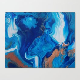 Fluid Nature - Blue Smoke - ABstract Acylic Pour Art Canvas Print