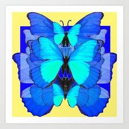 DECORATIVE BLUE SATIN BUTTERFLIES YELLOW PATTERN ART Art Print