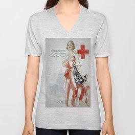 Vintage poster - American Red Cross Unisex V-Neck