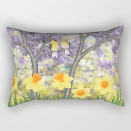 goldfinches, lilacs, & daffodils Rectangular Pillow