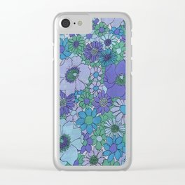 70's BLUE FLOWERS Clear iPhone Case