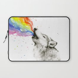 Wolf Howling Rainbow Watercolor Laptop Sleeve