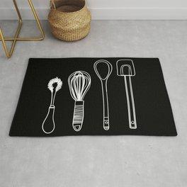 black and white line art baking utensils Rug