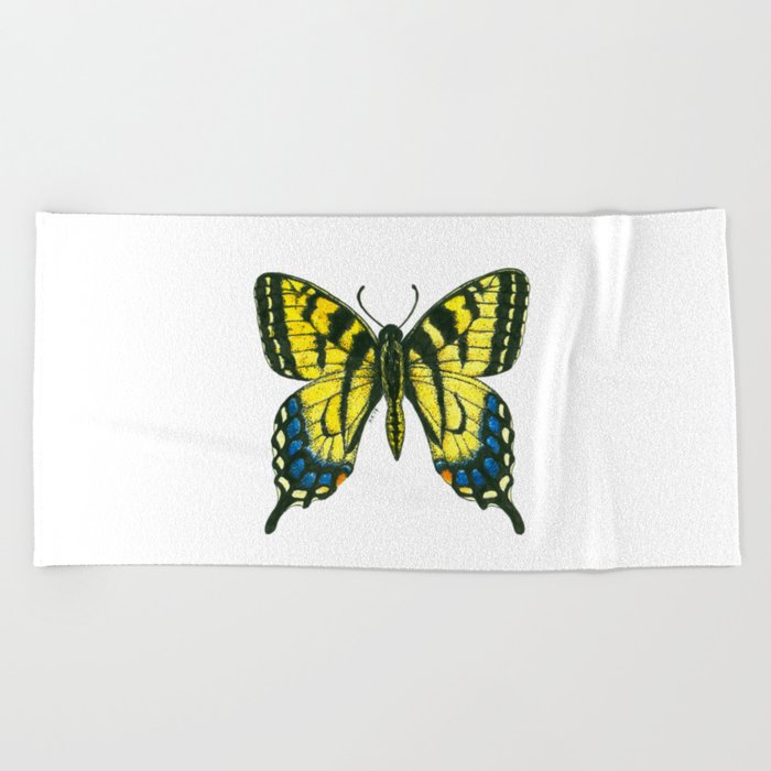 Tiger swallowtail butterfly watercolor and ink art, watercolor butterfly, eastern tiger swallowtail Beach Towel