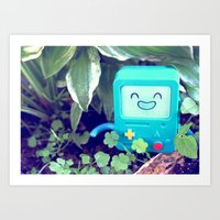 beemo Art Prints featuring Beemo Loves the Garden by MSG Imaging