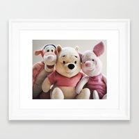 tigger Framed Art Prints featuring Pooh, Tigger, and Piglet by Ning Watson