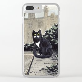 Moustache Cat Clear iPhone Case