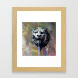 Lion Head Fountain Framed Art Print