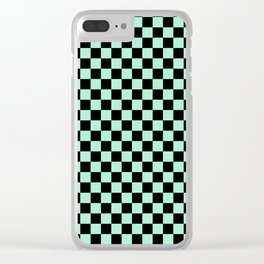 Black and Magic Mint Green Checkerboard Clear iPhone Case
