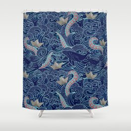 Octopus Origami Boats Shower Curtain