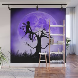 Moonlight Wondering Fairy - Purple Wall Mural