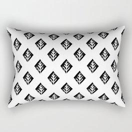 Linocut scandinavian minimal black and white trees camping pattern minimalist art Rectangular Pillow