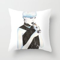 cigarette Throw Pillows featuring Cigarette by Alessandra Castagnolo