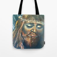 christ Tote Bags featuring Christ by osile ignacio