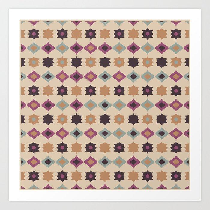 Retro pattern . Pastel . Art Print