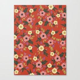 Vermillion Floral Canvas Print