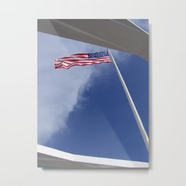 Flag at U.S.S. Arizona Metal Print