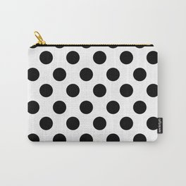 Black and White Medium Polka Dots Carry-All Pouch