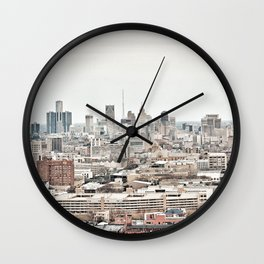 Downtown Detroit Skyline View from New Center Wall Clock