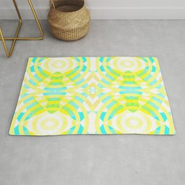 Funky geometry in yellow and blue Rug
