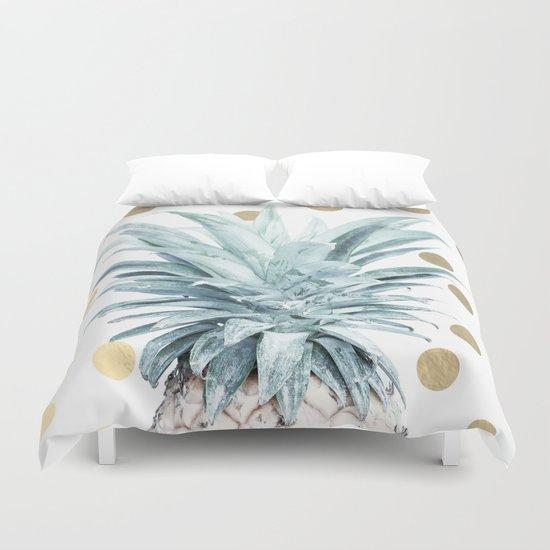 Pineapple crown - gold confetti Duvet Cover