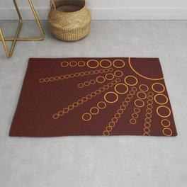 Golden Sunburst Circle Pattern on Burgundy Digital Illustration Rug