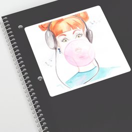 drawing of a girl with chewing gum and music headphones Sticker
