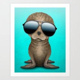 Cute Baby Seal Wearing Sunglasses Art Print