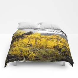 A Mountainside Fire of Gold Comforters