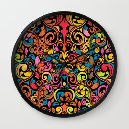 chisel carving leaf flower color rainbow Wall Clock