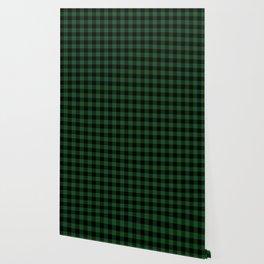 Jumbo Forest Green and Black Rustic Cowboy Cabin Buffalo Check Wallpaper