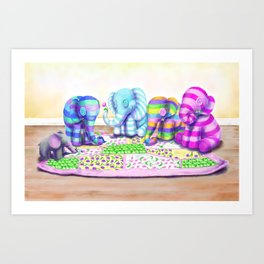 Elephant's Brunch Art Print