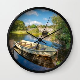 Boat At Padarn Lake Llanberis Wall Clock