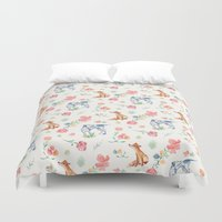 the hound Duvet Covers featuring Fox & Hound by jilln