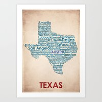 texas Art Prints featuring Texas by Wordmaps