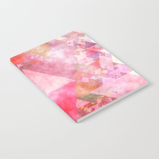 Triangles in pink - Watercolor Illustration pattern Notebook
