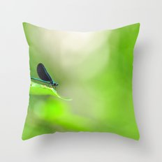 Blue Damsel and the Lime Green Sky Throw Pillow