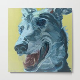 Dilly the Greyhound Portrait Metal Print
