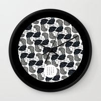 the dude Wall Clocks featuring Dude! by Victoria Gino