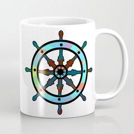 Ship's wheel on abstract marine background Coffee Mug