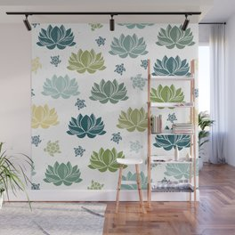 Lily Pond on white Wall Mural