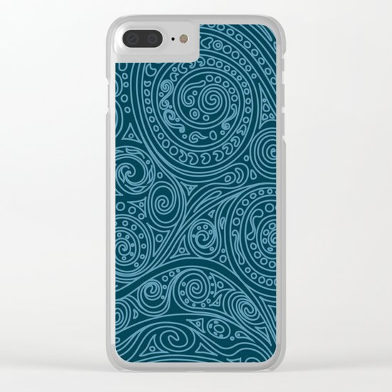 Doodle spiral sea green Clear iPhone Case