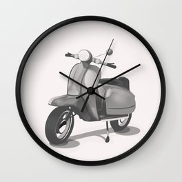 Vintage Scooter black and white Wall Clock