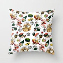 Sushi White Throw Pillow