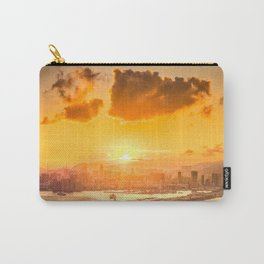 warm color tone orange sunset over hong kong urban city skyline at seafront Carry-All Pouch