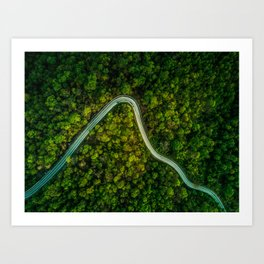 Road Less Travelled - Empty Mountain Road Thailand Art Print