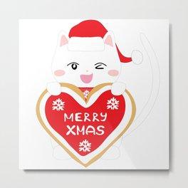 Happy Cat with xmas cookie Metal Print