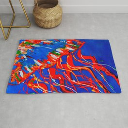 Red Jellyfish Rug