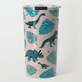 Dinosaur jungle illustration pattern blue teal boys print Travel Mug