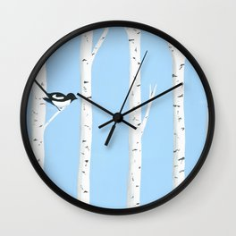 Magpies Among the Aspens Wall Clock